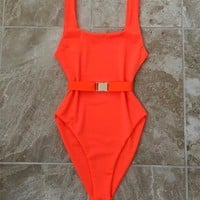 2018 Solid Color Sexy One Piece Swimsuit