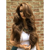 """Balayage Brown Thick Hair Swiss Lace Front Wig 24""""   51848*****"""