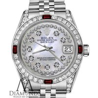 Unisex Rolex 36mm Datejust White MOP String Dial with Ruby & Diamond Bezel Watch