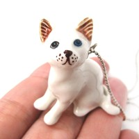 Multi Colored Odd Eyed White Kitty Cat Porcelain Ceramic Animal Pendant Necklace | Handmade