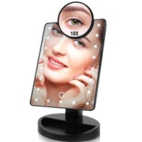 Magnification Make up Mirror. 22 LED Lights, Touch Screen Makeup Mirror 1X - 10X Countertop, Bright Adjustable USB Cable Or Batteries Use 16 Lights