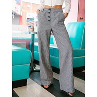 SHEIN Buttoned Fly Slant Pocket Houndstooth Wide Leg Pants
