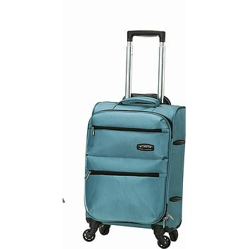 """New Rockland Gravity 20"""" Carry On Luggage Aqua Blue Travel Suitcase Lightweight"""
