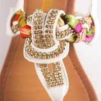 Jeweled and Woven Scarf Thong Sandal - White at Lucky 21 Lucky 21