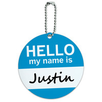 Justin Hello My Name Is Round ID Card Luggage Tag