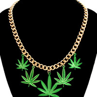 Gold MARIJUANA GREEN LEAF Charm Statement Necklace WEED Chain Celebrity Inspired