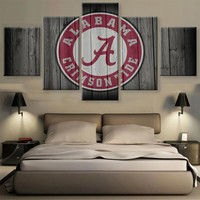 Alabama Crimson Tide College Football Barn Wood Style Print (not actual barnwood)