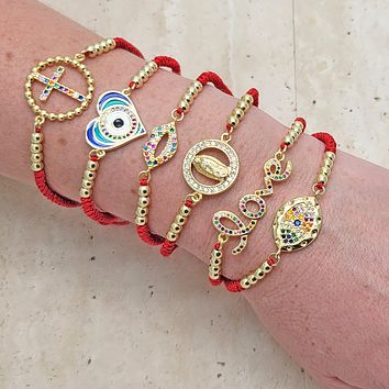 18 Red String Good Luck Gold Layered Bracelets ($5.55) ea