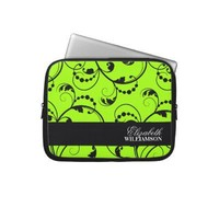 Personalized Green Floral Electronics Bag Laptop Sleeves from Zazzle.com