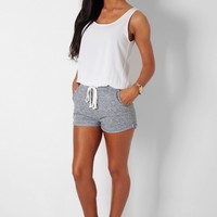 Chance White & Grey Drawstring Playsuit | Pink Boutique