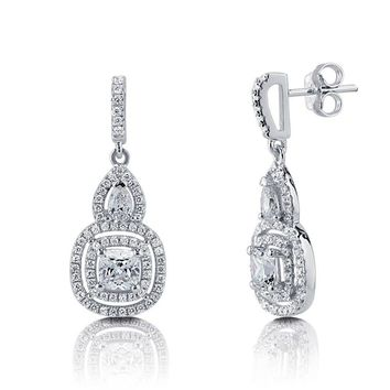 Sterling Silver Cushion CZ Halo Dangle EarringsBe the first to write a reviewSKU# e982