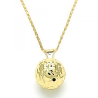 Gold Layered 04.163.0005.20 Fancy Necklace, Ball Design, Polished Finish, Golden Tone