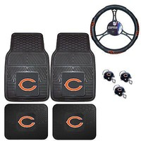 Licensed Official NFL Chicago Bears Floor Mats Steering Wheel Cover & Air Freshener Set