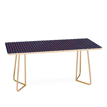 Leah Flores Blue and Orange Polka Dots Coffee Table