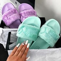 Puma X Rihanna Leadcat Fent Lover Fur Slipper Shoes Fresh Colorful