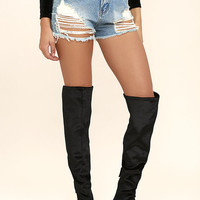 Steve Madden Emotionv Black Velvet Over the Knee Boots