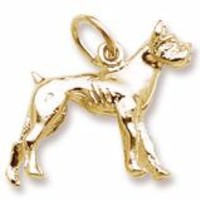 Boxer Dog Charm in Yellow Gold Plated