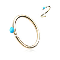 Gold and Turquoise Bendable Nose Ring Nose Hoop  20ga Body Jewelry Steel