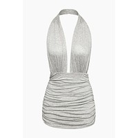 Halter Bill One Piece Swimsuit - Light Grey