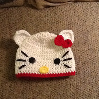 Hello Kitty Crochet Beanie - All sizes - Made to order