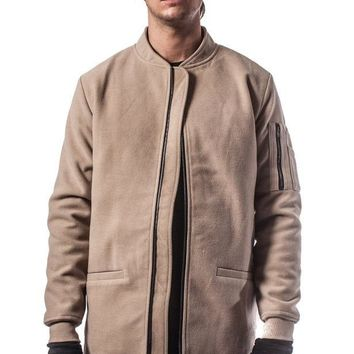 The Smith Elongated Bomber Jacket - Tan