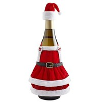Red Velvet Apron Bottle Decor