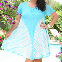 Anandas Collection Blue Tie-Dye Shift Dress - Plus | zulily