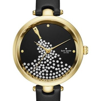 kate spade new york holland crystal dial leather strap watch, 34mm | Nordstrom