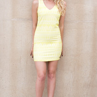 Just Got Paid Textured Cut Out Back Dress- NEON YELLOW