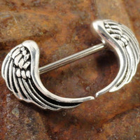 Angel Wing Nipple Jewelry Barbell 316L 14ga Piercing