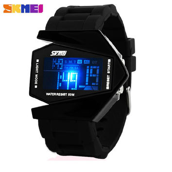 SKmei Brand Aircraft Shape Children LED Digital Watches 5ATM Waterproof Colorful Jelly LCD Movement Kids Sports Watch