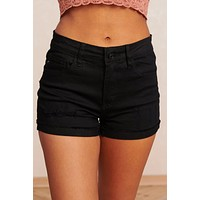 Livin' It Up Distressed KanCan Shorts (Black)