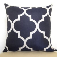 Decorative Designer Pillow - Moroccan Quatrefoil Lattice Pillow - 18 inch - Navy Blue - Trellis Pillow - Decorative Pillow - Throw Pillow