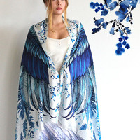 Blue Women silk cotton scarf, Hand painted printed Wings and feathers, stunning unique and useful, perfect gift
