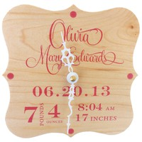 Nursery Clock Personalized with Baby Statistics