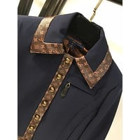 LV Women Casual Autumn  New Style Stand Collar Clothing Spring Ladies Coat Windbreake