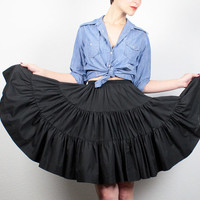 Vintage 70s Mini Skirt Full Sweep Skirt 1970s Country Western Tiered Square Dancing Skirt 1970s Midi Black Circle Skirt XS S Extra Small