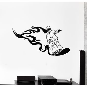 Vinyl Wall Decal Snowboarding Winter Extreme Sport Fire Snowboard Stickers Mural (g3698)