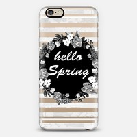 HELLO SPRING B/W - CRYSTAL CLEAR PHONE CASE iPhone 6 case by Nika Martinez | Casetify