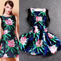 Solid Floral Ribbed Empire Pleated Mini Dress
