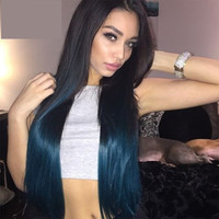 T1b/dark blue Ombre Glueless Brazilian Virgin Hair ombre U Part Wig