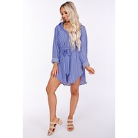 No Limitations Button Up Shirt Dress (Medium Blue)
