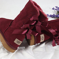 UGG Bow Leather Shoes Winter Half Boots Shoes-1