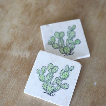Prickly Pear Cactus Marble Coasters