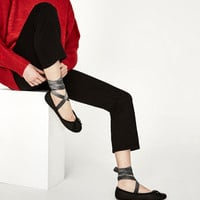 LEATHER BALLERINAS WITH INTERCHANGEABLE BOWS DETAILS