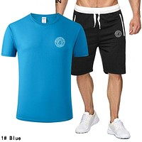 VERSACE Fashion Men Casual Print Short Sleeve Top Shorts Sport Set Two-Piece 1# Blue