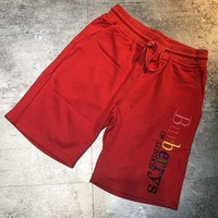 Burberry Colorful Logo Women Men Sports Shorts Side Flag Red