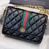 Hipgirls GUCCI New fashion leather chain shoulder bag crossbody bag Black