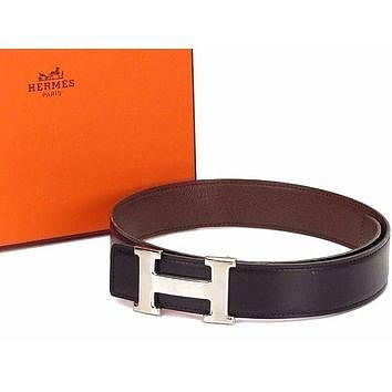 Auth HERMES H Buckle Belt Size£º60 Leather Silver-tone Black Brown