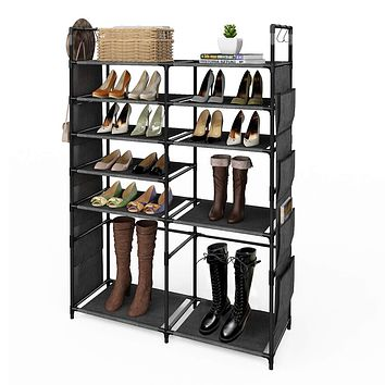 "ZERO JET LAG 57""H Shoe Rack Boots Storage Organizer 6 Tiers Closet Entryway Shelf Stackable Cabinet Tower Double Row Non-Woven Fabric Metal 20-25 Pairs Black 6-Tier"